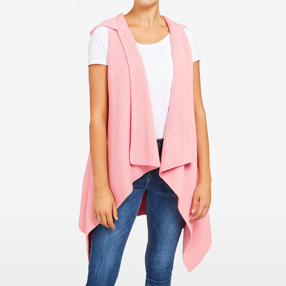 HOODED RIB PONCHO  BLUSH  hi-res