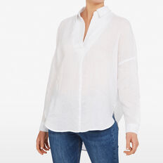 LINEN POPOVER SHIRT  SUMMER WHITE  hi-res