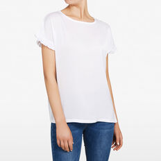 RUFFLE SLEEVE SHIRT  SUMMER WHITE  hi-res