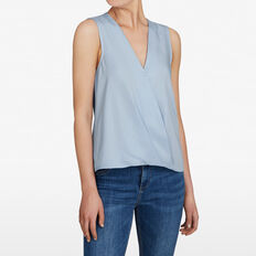 SLEEVELESS WRAP SHIRT  SEA BLUE  hi-res
