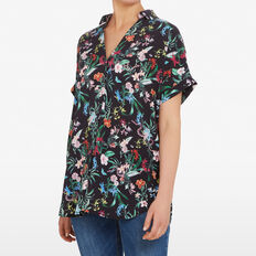 DITSY EXOTIC PRINT SHIRT  BLACK/MULTI  hi-res