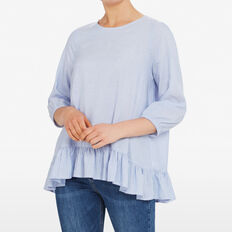 STRIPE RUFFLE SHIRT  CHAMBRAY/SUMMER WHIT  hi-res