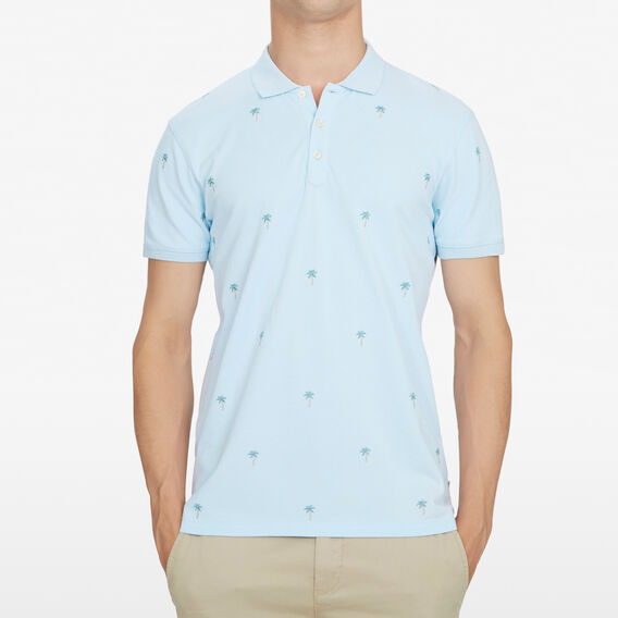 PALM TREE EMBROIDERED POLO  SKY BLUE  hi-res
