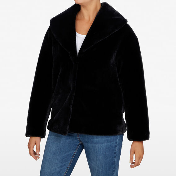 FLUFFY HOODED JACKET  BLACK  hi-res