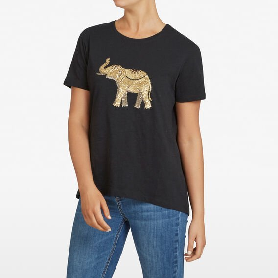 EMBELLISHED ELEPHANT TEE  BLACK MULTI  hi-res