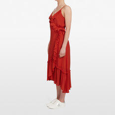 RUFFLE WRAP DRESS  RED  hi-res