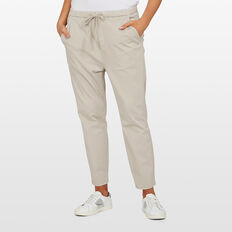 PULL ON STRETCH COTTON PANT  OATMEAL  hi-res