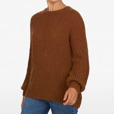 OVERSIZED SLOUCHY KNIT  DARK TAN  hi-res