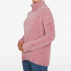 CHENILLE SLOUCHY JUMPER  DUSTY PINK  hi-res