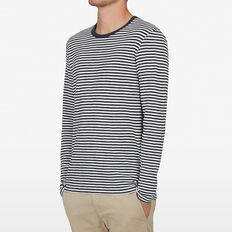 STRIPE WAFFLE LONG SLEEVE T-SHIRT  NAVY/WHITE  hi-res