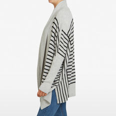 MULTI STRIPE PONCHO  BLACK/GREY  hi-res