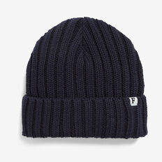 RIBBED KNIT BEANIE  NAVY  hi-res