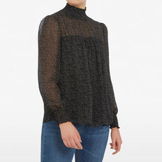 HIGH NECK MINI SPOT BLOUSE  BLACK/WHITE  hi-res