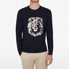 LION INTARSIA KNIT  MARINE BLUE  hi-res