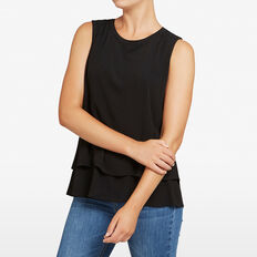 SLEEVELESS DOUBLE LAYER TOP  BLACK  hi-res