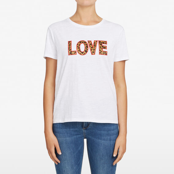 LOVE ANIMAL PRINT LOGO TEE  SUMMER WHITE/MULTI  hi-res