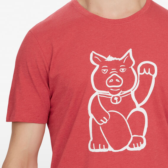 FORTUNE PIG T-SHIRT  RED MARL  hi-res