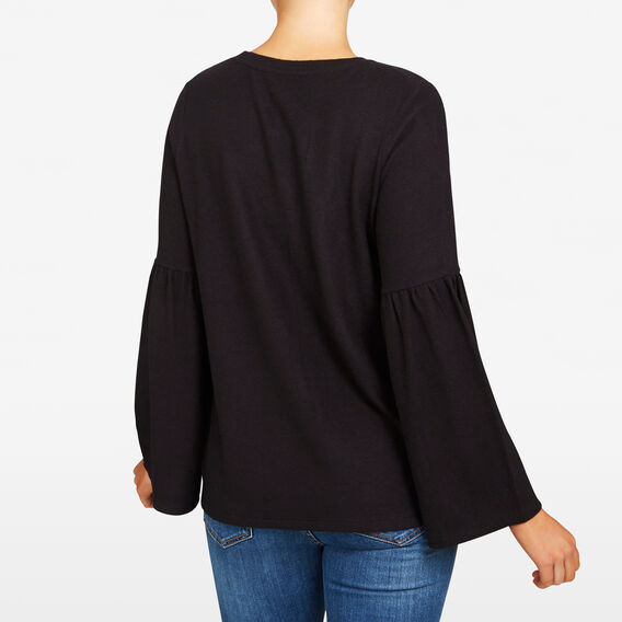 FLUFFY BELL SLEEVE TEE  BLACK  hi-res