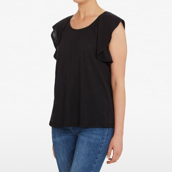 FRILL SLEEVE TEE  BLACK  hi-res