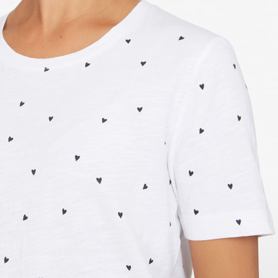MINI HEART TEE  WHITE/NAVY  hi-res