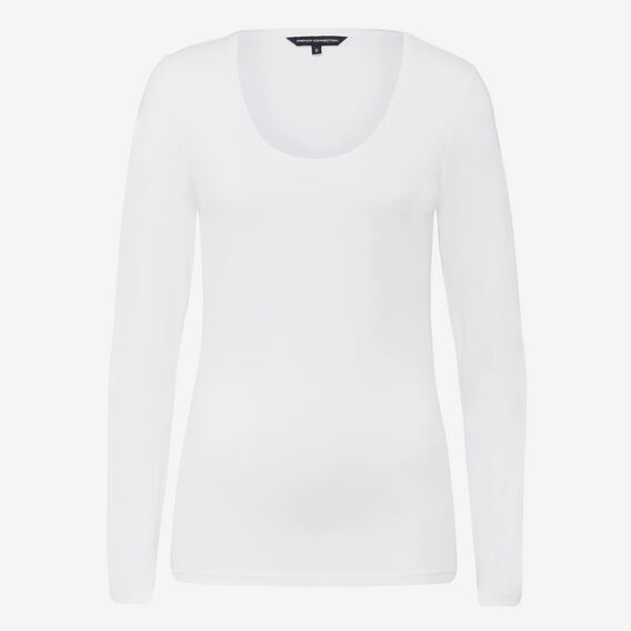 LONGSLEEVE SCOOP NECK TEE  WHITE  hi-res