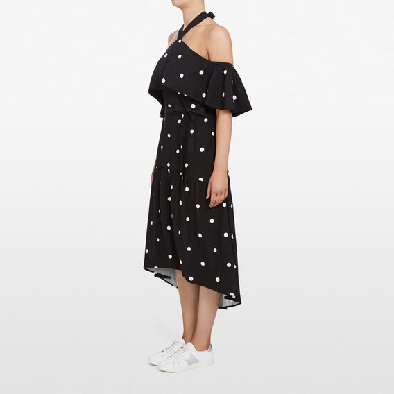 HALTER NECK FRILL SPOT DRESS  BLACK/SUMMER WHITE  hi-res