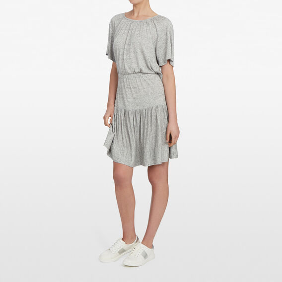 TIERED JERSEY DRESS  GREY MARLE  hi-res