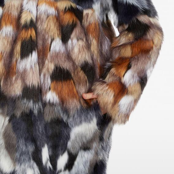 FLECKED FAUX FUR COAT  UTILITY BLUE/BROWN  hi-res