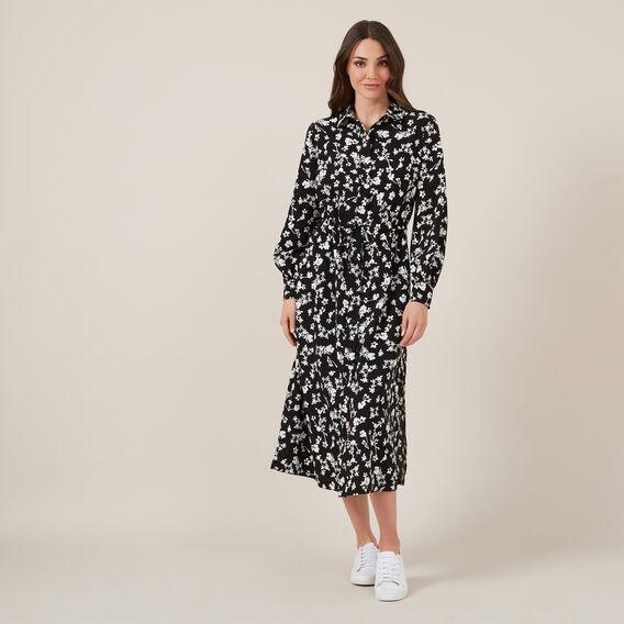 FLORAL SHIRT MAXI DRESS  BLACK  hi-res