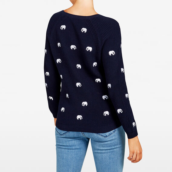 ELEPHANT EMBROIDERED KNIT  NOCTURNAL/SUMMER WHI  hi-res