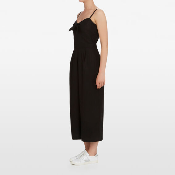 TIE UP FRONT JUMPSUIT  BLACK  hi-res