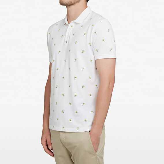 PALM PRINTED POLO  WHITE  hi-res