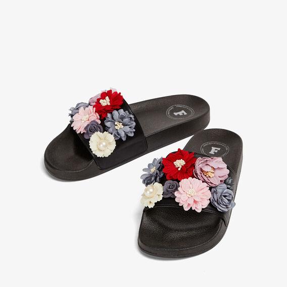 FLOWER POOLSLIDE  BLACK/MULTI  hi-res