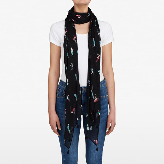 BIRDS IN PARADISE SCARF  BLACK/MULTI  hi-res