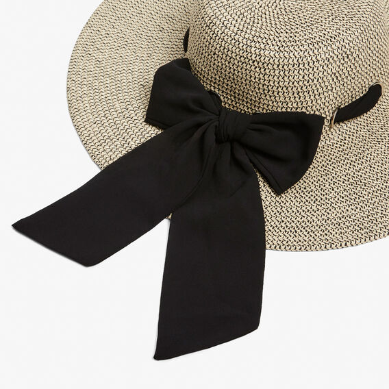 SCARF WIDE BRIM HAT  NATURAL/BLACK  hi-res