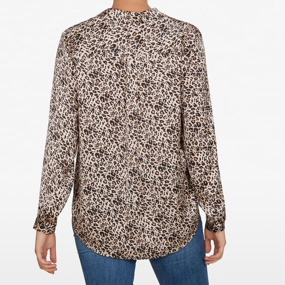 ANIMAL PRINT BUTTON UP SHIRT  CAMEL/MULTI  hi-res