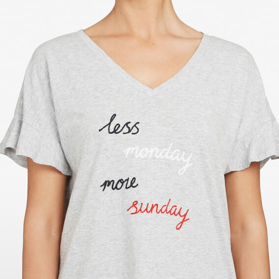 LESS MONDAY MORE SUNDAY TEE  GREY MARLE/MULTI  hi-res