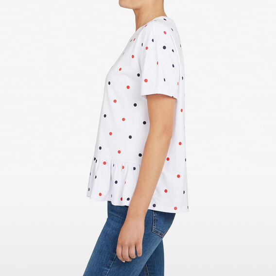 SPOT PEPLUM TEE  SUMMER WHITE/MULTI  hi-res