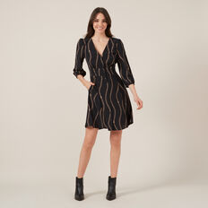 BABYDOLL CHAIN PRINT DRESS  BLACK  hi-res