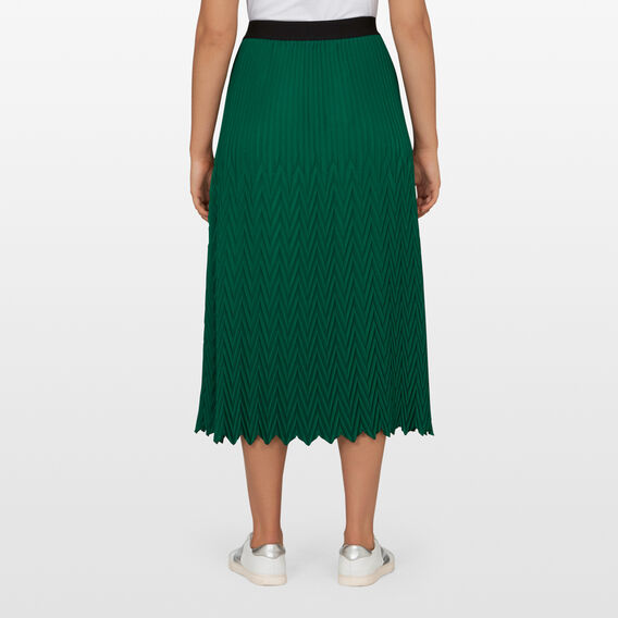 CHEVRON PLEATED SKIRT  LEAF GREEN  hi-res