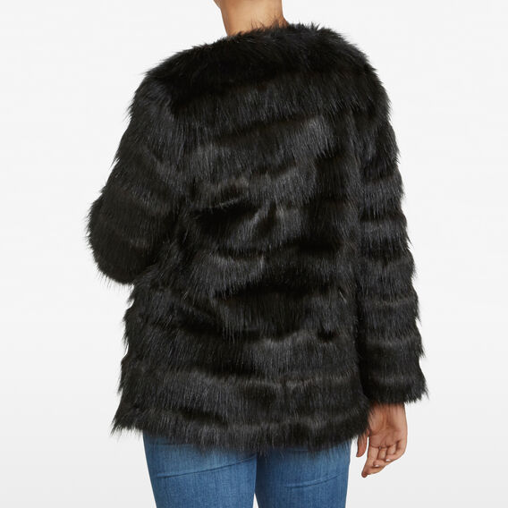 FLUFFY STRIPE COAT  BLACK  hi-res