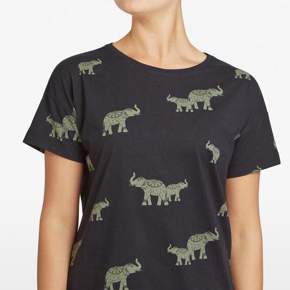ELEPHANT PRINTED TEE  BLACK/MULTI  hi-res