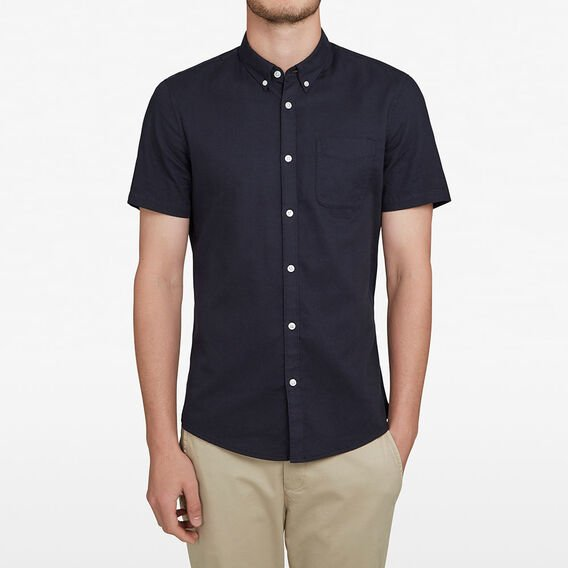 SHORT SLEEVE OXFORD CUSTOM FIT SHIRT  OXFORD BLUE  hi-res
