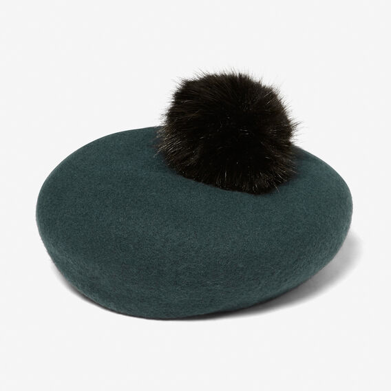 FELT POM BERET  FOREST GREEN/BLACK  hi-res