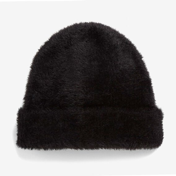 BLACK FLUFFY BEANIE  BLACK  hi-res
