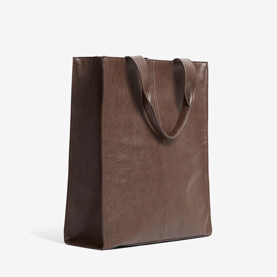 LEATHER LOOK TOTE BAG  DARK TAN  hi-res