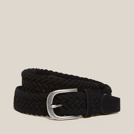 SUEDE PLAITED BELT  BLACK  hi-res