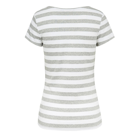 HAYLEY STRETCH V NECK TEE  WHITE/GREY MARLE  hi-res