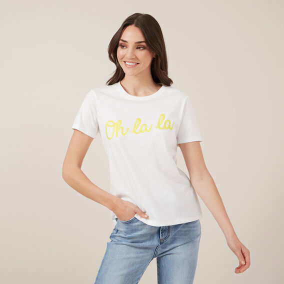 OH LA LA EMBROIDERED TEE  WHITE  hi-res