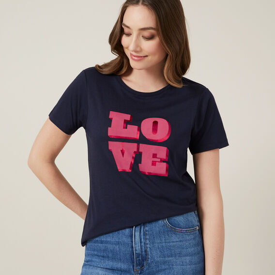 LOVE LOGO TEE  NAVY  hi-res